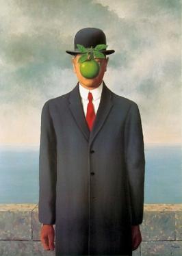 """Ren? Magritte, The Son of Man, 1964, Restored by Shimon D. Yanowitz, 2009  øðä îàâøéè, áðå ùì àãí, 1964, øñèåøöéä ò""""é ùîòåï éðåáéõ, 2009"""